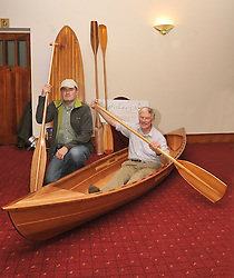 Two men and a boat,.David Shaw-Smith sits inside a beautiful handcrafted Kayak made by Paul Walsh, Foxford at the Craftworks Mayo Winter Expo that took place in the Wyatt Hotel over the weekend.  .Pic Conor McKeown