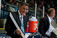 KELOWNA, CANADA - SEPTEMBER 20: Don Hay, head coach of the Kamloops Blazers goes over a play on the bench against the Kelowna Rockets on September 20, 2014 at Prospera Place in Kelowna, British Columbia, Canada.   (Photo by Marissa Baecker/Shoot the Breeze)  *** Local Caption *** Don Hay;
