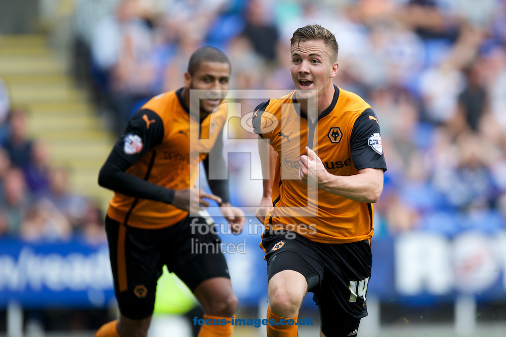 Lee Evans (14) of Wolverhampton Wanderers celebrates after scoring to make the score 1-2 during the Sky Bet Championship match at the Madejski Stadium, Reading<br /> Picture by Alan Stanford/Focus Images Ltd +44 7915 056117<br /> 28/09/2014