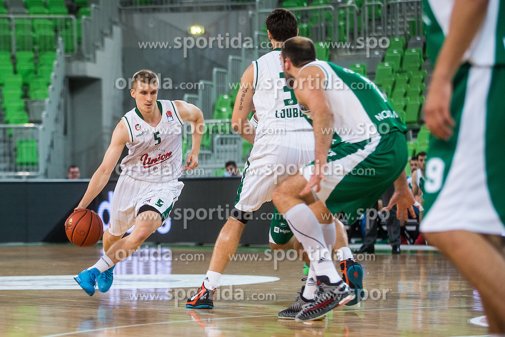 Luka Rupnik of KK Union Olimpija during basketball match between KK Union Olimpija Ljubljana and KK Krka in Round #5 of ABA League 2015/16, on October 11, 2015 in Arena Stozice, Ljubljana, Slovenia. Photo by Grega Valancic / Sportida