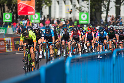 The main group chases on Stage 2 of the Madrid Challenge - a 100.3 km road race, starting and finishing in Madrid on September 16, 2018, in Spain. (Photo by Balint Hamvas/Velofocus.com)