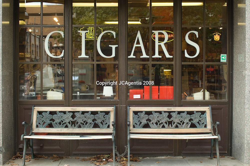 Storefront of Cigar Shop Downtown Main Street Bethlehem Pennsylvania
