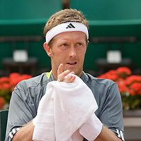 04 June 2007: Jonas Bjorkman of Sweden rests during the French Tennis Open fourth round match won 7-6(5), 6-2, 7-5 by Carlos Moya over Jonas Bjorkman on day 9 at Roland Garros, in Paris, France.