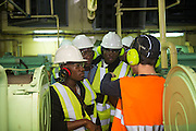 Cadets receiving training in the engine room of the Maersk Attender