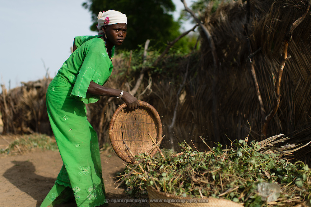 Ramma Ado working on cleaning up the village of Kanwa-Maraki, where she lives in the Zinder Region of Niger, on 25 July 2013 as part of a WaterAid Community-Led Total Sanitation (CLTS) program.