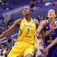 18 May 2014: Los Angeles Sparks forward/center Sandrine Gruda (7) vies for the rebound with Phoenix Mercury forward Mistie Bass (8) during the Phoenix Mercury 74-69 victory over the Los Angeles Sparks, at the Staples Center, Los Angeles, California, USA.