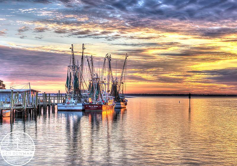 Shem Creek shrimp boats sunset 2013