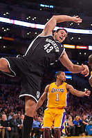 20 November 2012: Forward (43) Kris Humphries of the Brooklyn Nets in game action against the Los Angeles Lakers during the first half of the Lakers 95-90 victory over the Nets at the STAPLES Center in Los Angeles, CA.