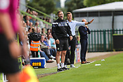 Forest Green Rovers assistant manager, Scott Lindsey and Forest Green Rovers manager, Mark Cooper during the EFL Sky Bet League 2 match between Forest Green Rovers and Yeovil Town at the New Lawn, Forest Green, United Kingdom on 19 August 2017. Photo by Shane Healey.