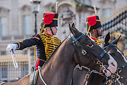 On the 100th anniversary of women getting the vote, Kings troop is led by female officers and has a high proportion of female troopers - The King's Troop Royal Horse Artillery, ride their horses and gun carriages past Buckingham Palace to Green Park to stage a 41 Gun Royal Salute to mark the 66th Anniversary of the Accession of Her Majesty The Queen.