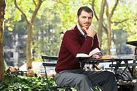 Man relaxing in park portrait