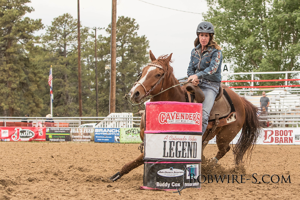 Kelly Kennedy Joseph makes her barrel racing run during slack at the Elizabeth Stampede on Sunday, June 3, 2018.