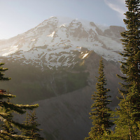 View of peak of Mount Rainier - Mount Rainier National Park, WA
