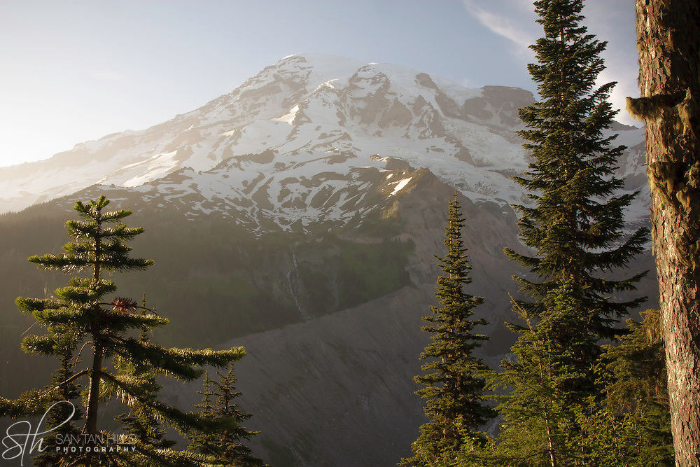 View of peak of Mount Rainier - Mount Rainier National Park, WA