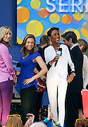 Lara Spencer, Ginger Zee and Robin Roberts appear during the Good Morning America Concert Series at Rumsey Playfield in New York City, New York on May 23, 2014.