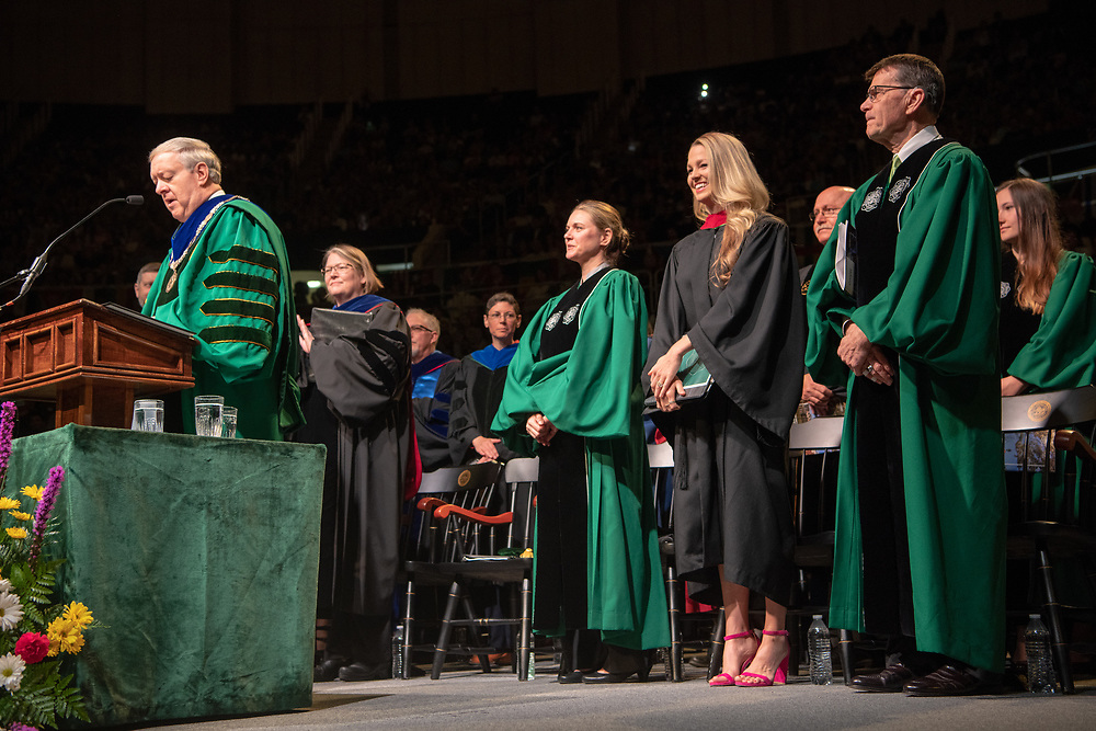 President Nellis speaks at spring undergraduate commencement. Photo by Ben Siegel