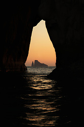 Kicker Rock at sunset, San Cristobal, Galapagos, Ecuador