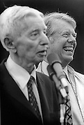 "President Jimmy Carter,  and Admiral Hyman Rickover - known as "" The Father of the Nuclear Navy "" and Carter's former commanding officer, after an afternoon aboard the nuclear submarine USS Los Angeles at Port Canaveral, Florida. After boarding, the Los Angeles departed for an afternoon of sea trials. President Carter served under Rickover during his Naval career. - To license this image, click on the shopping cart below -"