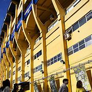 A tour group arrives at Boca Juniors football stadium, La Bombonera, in La Boca region of Buenos Aires, Argentina, 25th June 2010. Photo Tim Clayton..