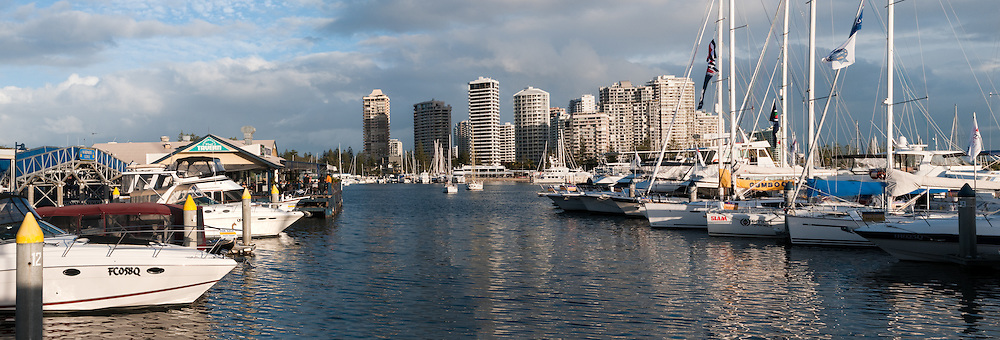Yachts moored at Marina Mirage, Broadwater, Gold Coast, Queensland, Australia