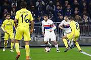 Nabil Fekir of Lyon and Pablo Fornals of Villarreal and Rodrigo Hernández of Villarreal during the UEFA Europa League, Round of 32, 1st leg football match between Olympique Lyonnais and Villarreal on February 15, 2018 at Groupama stadium at Decines-Charpieu near Lyon, France - Photo Romain Biard / Isports / ProSportsImages / DPPI