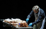 31/10/2012. London, UK. One of the international highlights of the Barbican Theatre's 2012 programme, Poland's TR Warszawa return to the Barbican on Halloween with Grzegorz Jarzyna's production of Nosferatu. Picture shows Sandra Korzeniak (Lucy) and Jan Englert (Doctor John Seward)