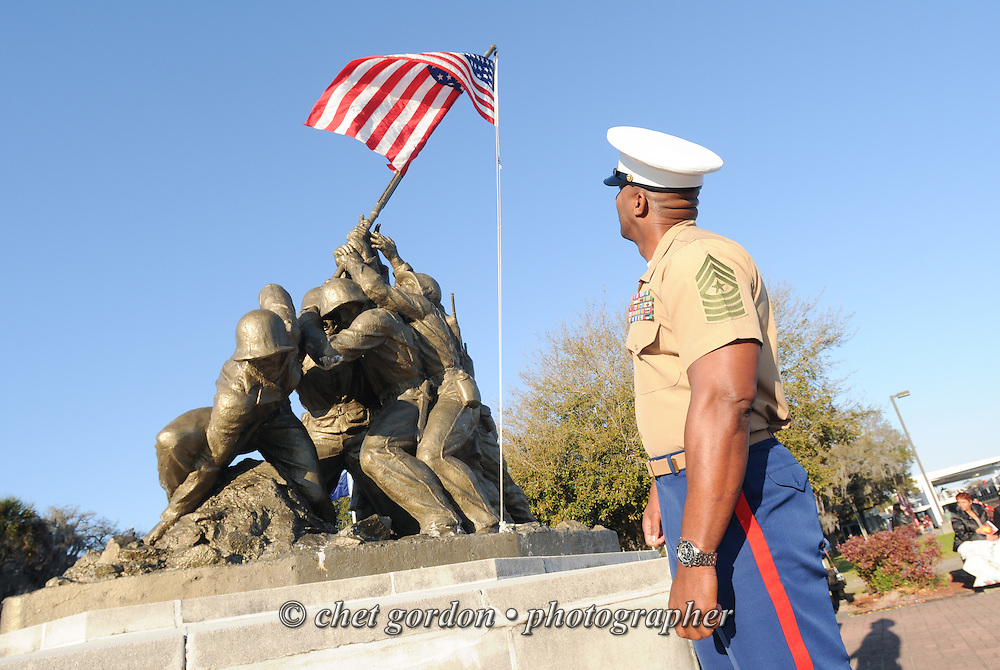 A Marine Corps Sgt. Major views the Iwo Jima statue prior to a graduation ceremony at the Marine Corps Recruit Depot (MCRD) in Parris Island, SC on Friday, March 15, 2013.