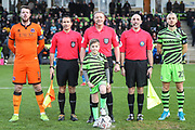 Mascot and officials during the The FA Cup match between Forest Green Rovers and Carlisle United at the New Lawn, Forest Green, United Kingdom on 30 November 2019.