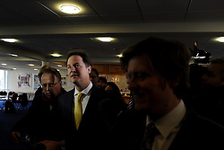 © Licensed to London News Pictures. 01/03/2013. Eastleigh, UK.  NICK CLEGG. Liberal Democrat leader and Deputy Prime Minister Nick Clegg meets with Mike Thornton MP the morning after his by-election victory in Eastleigh today 1st March 2013. The voters of Eastleigh voted  in a by-election prompted by the resignation of former Lib Dem cabinet minister Chris Huhne. Photo credit : Stephen Simpson/LNP