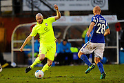 Richard Brodie (9) of York City on the attack against Jason Taylor (28) of Eastleigh during the Vanarama National League match between Eastleigh and York City at Arena Stadium, Eastleigh, United Kingdom on 12 November 2016. Photo by Graham Hunt.