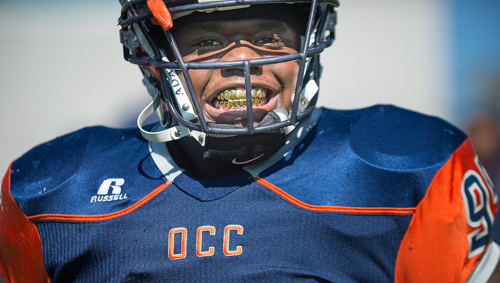 11/5/2016 12:15:32 PM--- Orange Coast College defensive lineman Keith Ford (95) before the game against Fullerton College at LeBard Stadium, Orange Coast College, Costa Mesa, CA. <br /> <br /> Photo by Jason Refuerzo/Sports Shooter Academy 13