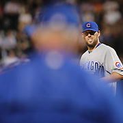NEW YORK, NEW YORK - June 30: Pitcher John Lackey #41 of the Chicago Cubs looks on as Manager Joe Maddon #70 of the Chicago Cubs heads to the mound to pull him from the game during the Chicago Cubs Vs New York Mets regular season MLB game at Citi Field on June 30, 2016 in New York City. (Photo by Tim Clayton/Corbis via Getty Images)