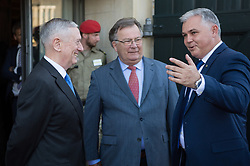 Secretary of Defense Jim Mattis and Danish Minister of Defence Claus Hjort Frederiksen welcome Mark Mitchell, New Zealand's minister of defence, to a Global Coalition on the Defeat of ISIS meeting at Eigtveds Pakhus in Copenhagen, Denmark, May 9, 2017. (DOD photo by U.S. Air Force Staff Sgt. Jette Carr)
