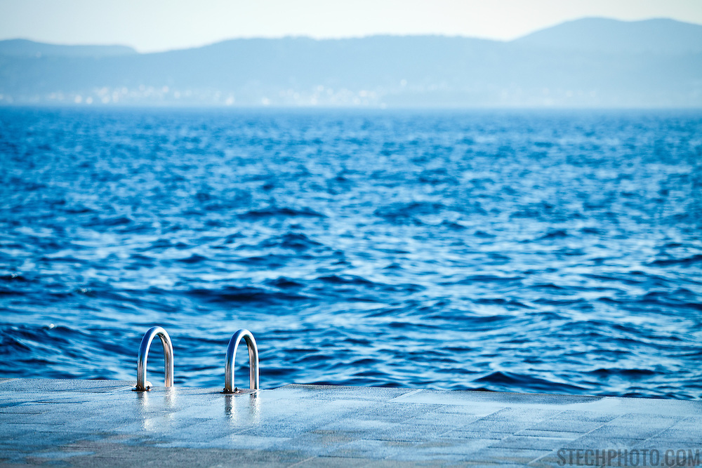 A ladder for leading down to the water for swimmers in Zadar, Croatia.<br /> <br /> LICENSING: This image can be licensed through SpacesImages. Click on the link below:<br /> <br /> http://tinyurl.com/cgdroz3