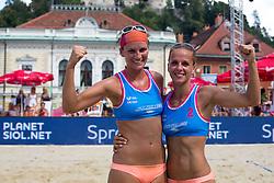 Jelena Pesic and Ana Skarlovnik of Slovenia at Beach Volleyball Challenge Ljubljana 2014, on August 2, 2014 in Kongresni trg, Ljubljana, Slovenia. Photo by Matic Klansek Velej / Sportida.com