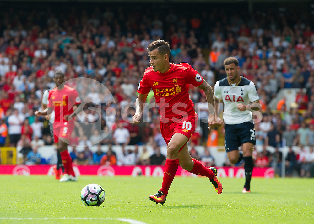 Philippe Coutinho of Liverpool in action during the Premier League match between Tottenham Hotspur and Liverpool at White Hart Lane, London, England on 27 August 2016. Photo by Vince  Mignott.