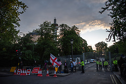 © Licensed to London News Pictures. 04/06/2019. London, UK. General view of the controlled access road to Winfield House, the US ambassador's residence in Regent's Park, while Central London Mosque (behind) the cordon celebrates Eid. The prince of Wales, Prime Minister Theresa May where among guests attending a dinner hosted by US President Donald Trump and First Lady Melania Trump on day 2 of the state visit to the UK.  Photo credit: Guilhem Baker/LNP