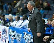 Razorsharks head coach Robert Spon during a game against the Carolina Vipers at the Blue Cross Arena on Saturday, December 6, 2014.
