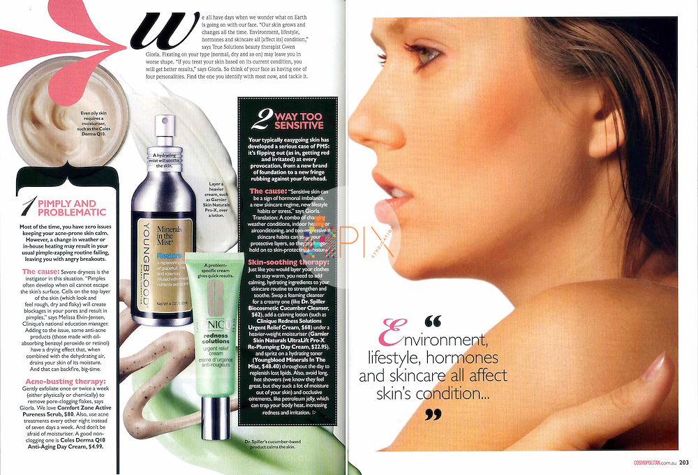Learn how to 'Get on your skin's good side' in a 4-page editorial beauty feature in Cosmopolitan magazine, Australia.  <br />