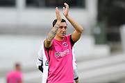 Nathan Thomas (7) of Hartlepool United applauds the fans after the final whistle in the EFL Sky Bet League 2 match between Plymouth Argyle and Hartlepool United at Home Park, Plymouth, England on 24 September 2016. Photo by Graham Hunt.