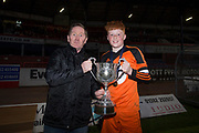 St. Johns' captain Ruari Henry received the Under 15 Senior Sports Cup from John Burke of sponsors Dundee Supporters Association -  St.John's v Harris in the U15 Senior Sports Cup Final (sponsored by DSA) at Dens Park, Dundee<br /> <br /> <br />  - &copy; David Young - www.davidyoungphoto.co.uk - email: davidyoungphoto@gmail.com