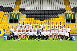 June 27, 2017 - Lokeren, BELGIUM - (Top L-R),   Marco Miric,   Lewis Enoh,   Sammy Kehli,   Mijat Maric,   goalkeeper Dieter Creemers,   goalkeeper Davino Verhulst,   keeper trainer Erik Amelinckx,   Ortwin De Wolf,   Bo Geens,   Killian Overmeire,   Tom de Sutter,   Khadim Rassoul Joher,   Branislav Ninaj, (Mid L-R),   physiotherapist Tom Geerinck,   Bob Straetman,   Stefano Marzo,   Guus Hupperts,   Robin Soder,   Eugene Ansah,   Gary Martin,   Mehdi Terki,   Steve De Ridder,   Nathan Mingiedi,   Arno Monsecour,   Koen Persoons,   Luciano Slagveer,   Joran Triest,   physiotherapist Kristof Fumiere, (Low L-R),   delegate Willy Peeters,   Kristof Van Nieuwenhuyse,   Amine Benchaib,   Ari Freyr Skulason,   Bibuangul Tracy Mpati,   assistant Danny Veyt,   head coach Runar Kristinsson,   team manager Willy Reynders,   assistant T3 Arnar Vidarsson,   sports technical assistant Geert Dirinck,   Juan Pablo Torres,   Seppe De Langhe,   Mohamed Ofkir,   Robin Adriaensen and Rony Leclerq pose for the photographer during the 2017-2018 season photo shoot of Belgian first league soccer team Sporting Lokeren, Tuesday 27 June 2017 in Lokeren...BELGA PHOTO LUC CLAESSEN (Credit Image: © Luc Claessen/Belga via ZUMA Press)