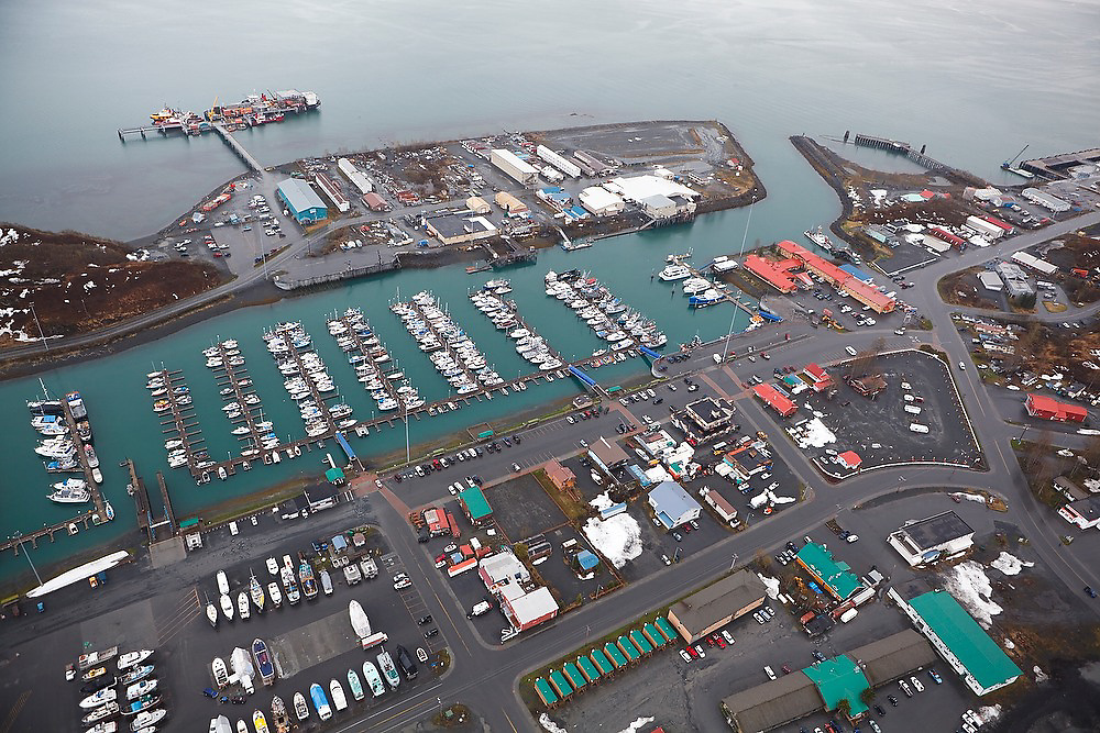 Aerial view of the waterfront, marina and city dock of Valdez, Alaska.