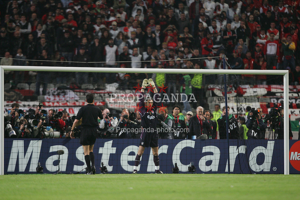 ISTANBUL, TURKEY - WEDNESDAY, MAY 25th, 2005: Liverpool's goalkeeper Jerzy Dudek prepares to face the first penalty of the shoot-out against AC Milan during the UEFA Champions League Final at the Ataturk Olympic Stadium, Istanbul. (Pic by David Rawcliffe/Propaganda)