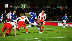 STEVENAGE, ENGLAND - Saturday, January 25, 2014: Everton's Magaye Gueye scores the fourth goal against Stevenage during the FA Cup 4th Round match at Broadhall Way. (Pic by Tom Hevezi/Propaganda)