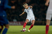 First real shot of the second half falls to Steph Houghton (Captain) (England) (Manchester City), but the ball goes sailing over the cross bar during the Women's International Friendly match between England Ladies and Italy Women at Vale Park, Burslem, England on 7 April 2017. Photo by Mark P Doherty.