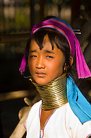 Young long necked Padaung tribe woman wearing neck rings, Nyaungshwe, Shan State, Myanmar, Burma