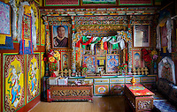 Shrine room of a private Tibetean home in the rural Shangri -La.