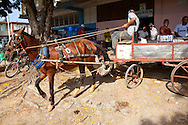 Horse and wagon backing up to deliver beer in Niquero, Granma, Cuba.