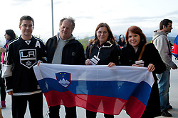Fans of Slovenia before ice-hockey match between Slovenia and Ukraine at IIHF World Championship DIV. I Group A Slovenia 2012, on April 19, 2012 at SRC Stozice, Ljubljana, Slovenia. (Photo By Matic Klansek Velej / Sportida.com)